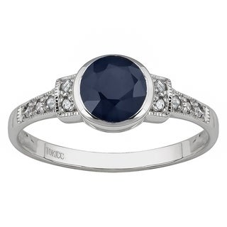Viducci 10k White Gold Vintage Style Genuine Sapphire and Diamond Ring - Blue (2 options available)