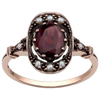 Viducci 10k Rose Gold Vintage Style Genuine Garnet and Pearl Ring - Brown