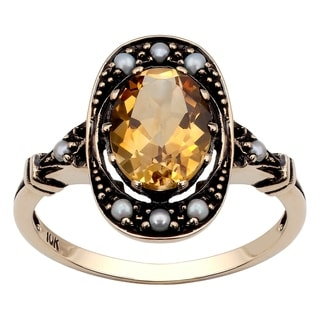 Viducci 10k Yellow Gold Vintage Style Genuine Citrine and Pearl Ring