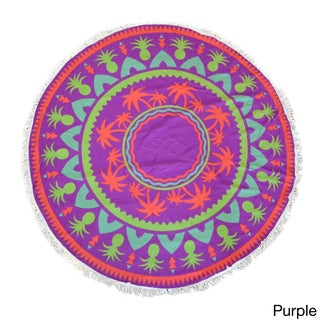 Cheer Collection 60-inch Terry Multi Purpose Round Beach Towel with Tassels - Multiple patterns available