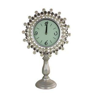 Benzara Silvertone/Green Metal Clock with Stand