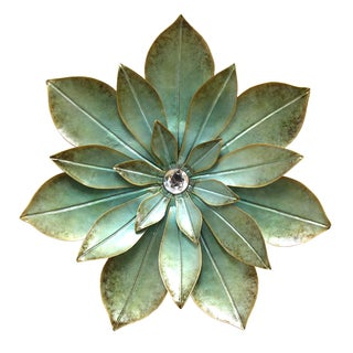 Stratton Home Decor Green Embellished Flower Wall Decor