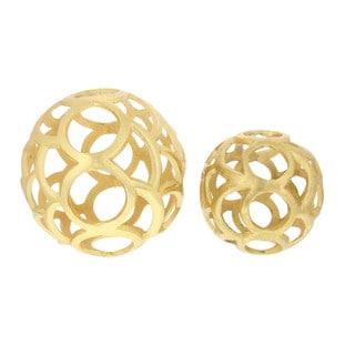 Benzara Ornamental Gold Aluminum 2-piece Sphere Set