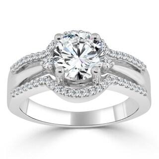 Auriya 14k Gold 1 1/5ct TDW Certified Round Diamond Engagement Ring