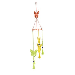 Benzara Impressive Multicolor Iron Metal and Glass Butterfly Wind Chime