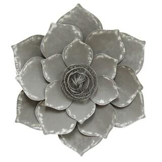 Stratton Home Decor Lotus Grey Metal Wall Decor
