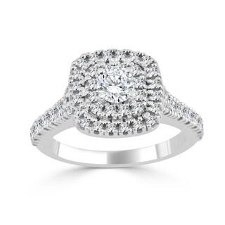 Auriya 14k Gold 1ct TDW Round Diamond Double Halo Engagement Ring