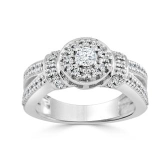 Auriya 14k Gold 1/2ct TDW Round Diamond Halo Engagement Ring