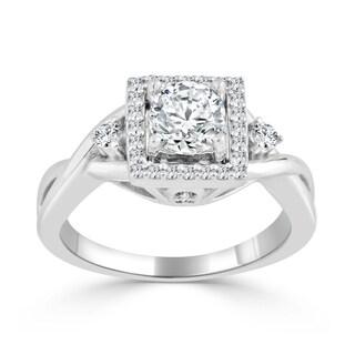 Auriya 14k Gold 3/4ct TDW Round Diamond Halo Engagement Ring