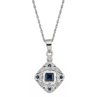 Viducci 10k White Gold Vintage Style Sapphire and Diamond Necklace - Blue