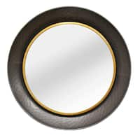 Stratton Home Decor Anelba Grey and Gold Metal-framed Wall Mirror