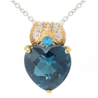 Michael Valitutti Palladium Silver Heart Shaped London Blue Topaz & Neon Apatite Pendant https://ak1.ostkcdn.com/images/products/16836903/P23137392.jpg?impolicy=medium