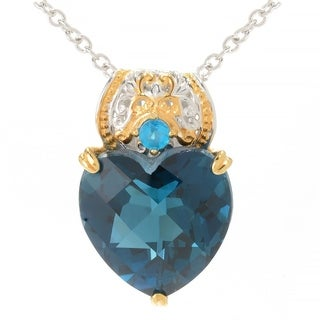 Michael Valitutti Palladium Silver Heart Shaped London Blue Topaz & Neon Apatite Pendant