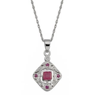 Viducci 10k White Gold Vintage Style Ruby and Diamond Necklace