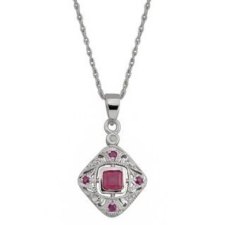 Viducci 10k White Gold Vintage Style Ruby and Diamond Necklace