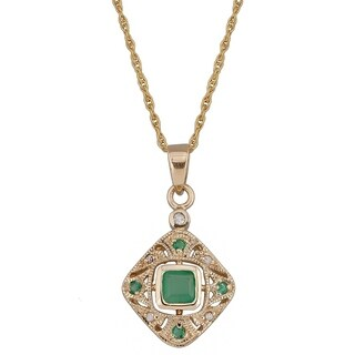 Viducci 10k Yellow Gold Vintage Style Emerald and Diamond Necklace