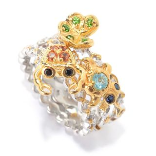 Michael Valitutti Palladium Silver Set of Three Multi Gemstone Crab, Lily Pad & Turtle Stack Band Rings