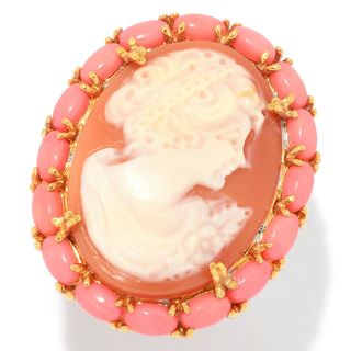 Michael Valitutti Palladium Silver Carved Shell Portrait Cameo & Salmon Coral Halo Ring
