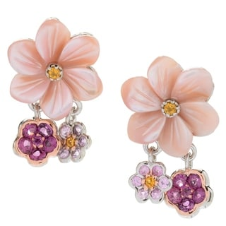 Michael Valitutti Palladium Silver Carved Mother-of-Pearl & Multi Gemstone Flower Earrings