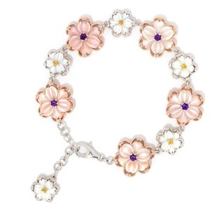 Michael Valitutti Palladium Silver Mother-of-Pearl Carved Flower & Gemstone Bracelet