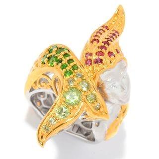 Michael Valitutti Palladium Silver Peridot, Orange Sapphire & Chrome Diopside Mermaid Ring