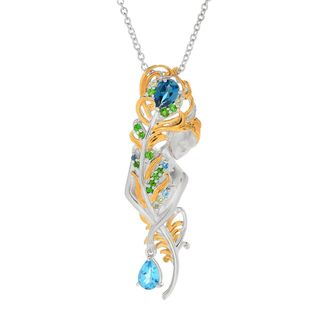 Michael Valitutti Palladium Silver Multi Gemstone Sculpted Woman & Feather Pendant