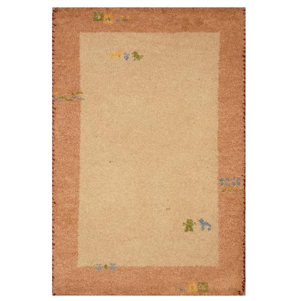 Handmade Gabbeh Wool Rug (India) - 2'1 x 3'. Opens flyout.