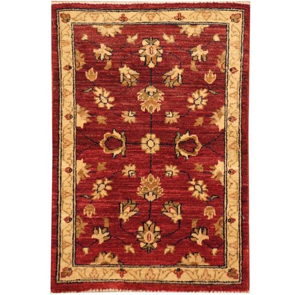 Handmade Herat Oriental Afghan Vegetable Dye Oushak Wool Rug (Afghanistan) - 2' x 2'10