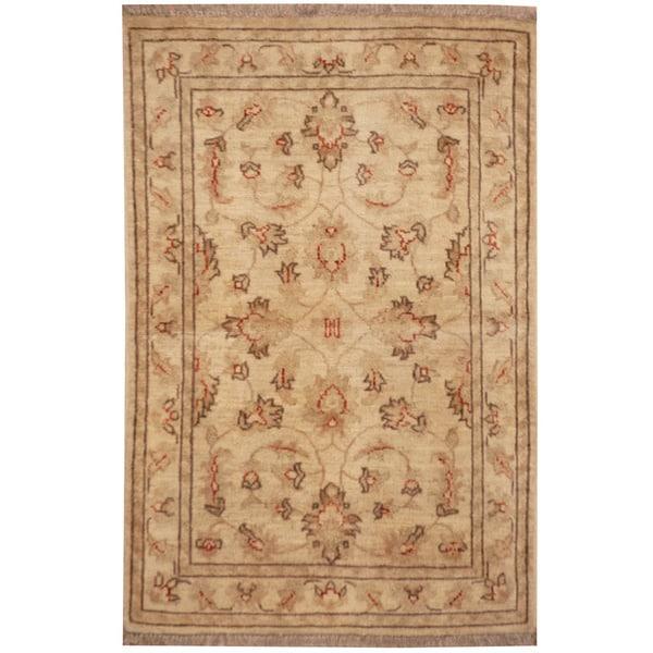 Handmade Vegetable Dye Oushak Wool Rug (Afghanistan) - 2'1 x 3'