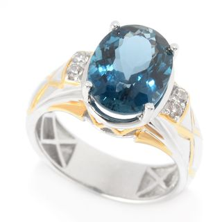 Michael Valitutti Palladium Silver London Blue Topaz & White Zircon Etched Men's Ring