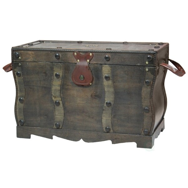 Antique Style Wooden Pirate Treasure Chest, Coffee Table Trunk   Black