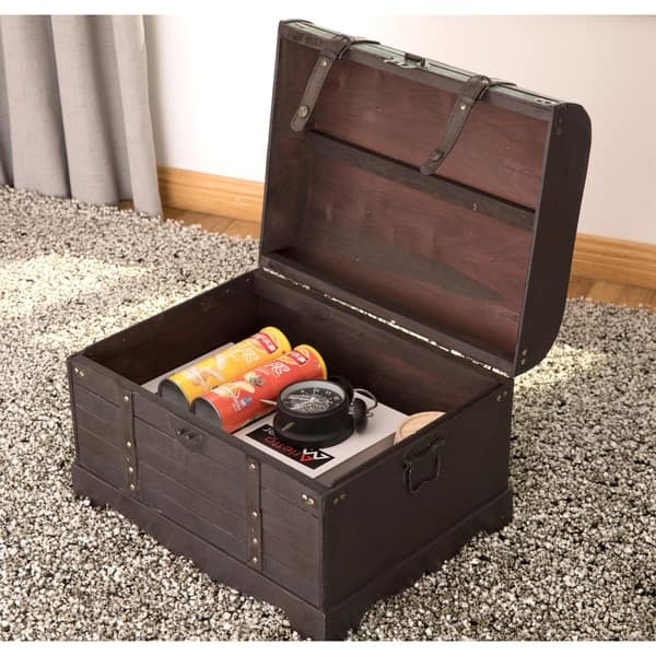 Wondrous Shop Antique Style Black Wooden Steamer Trunk Coffee Table Evergreenethics Interior Chair Design Evergreenethicsorg