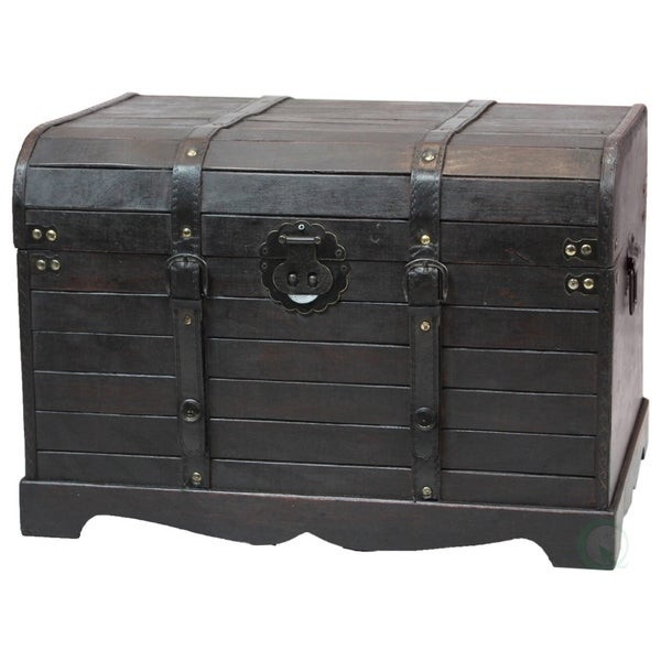 Antique Trunks As Coffee Tables: Shop Antique Style Black Wooden Steamer Trunk, Coffee