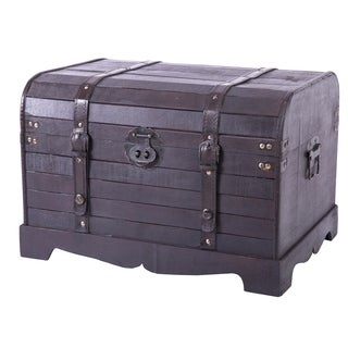 Antique style black wooden steamer trunk coffee table for Overstock trunk coffee table