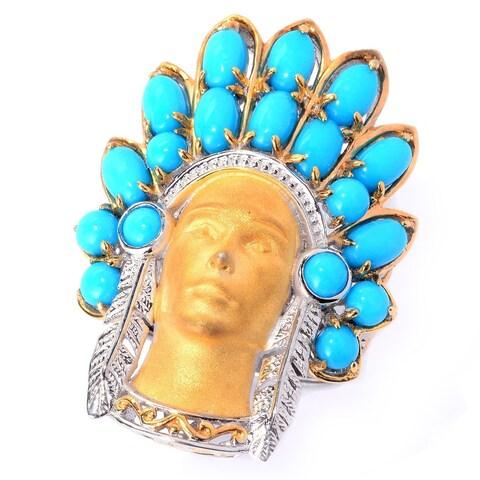 Michael Valitutti Palladium Silver Sleeping Beauty Turquoise Sculpted Warrior Ring