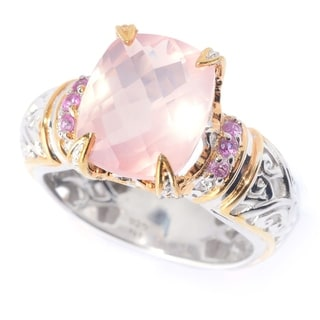 Michael Valitutti Palladium Silver Faceted Rose Quartz Pink Sapphire Cocktail Ring