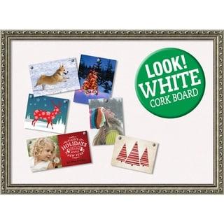 Framed White Christmas Card Cork Board, Parisian Silver 31 x 23-inch