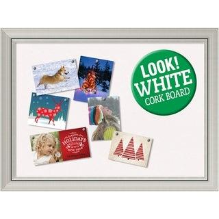Framed White Christmas Card Cork Board, Romano Silver 32 x 24-inch