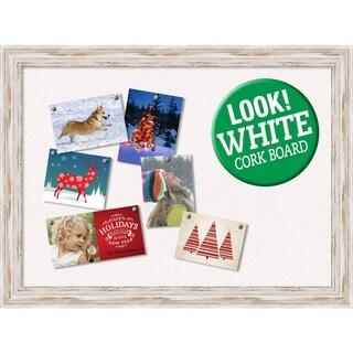 Framed White Christmas Card Cork Board, Alexandria White Wash 32 x 24-inch