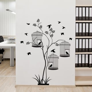 Bird Cages Plant Wall Decal