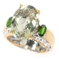 Michael Valitutti Palladium Silver Faceted Green Amethyst & Chrome Diopside Cocktail Ring