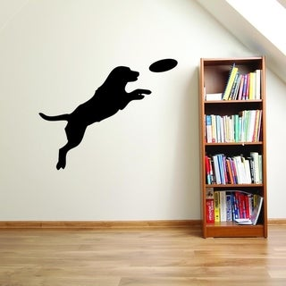 Dog with Flying Disc Wall Decal