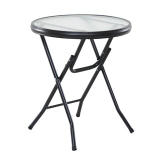 "OneSpace 50-BFT550500 Basics 16"" Round Folding Side Table, Clear"