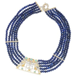 Michael Valitutti Palladium Silver Cleopatra Lapis Lazuli Bead & Multi Gemstone Statement Necklace