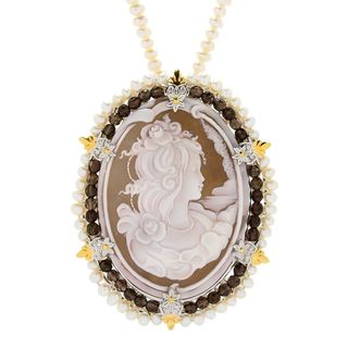 Michael Valitutti Palladium Silver Carved Shell Cameo & Freshwater Cultured Pearl Enhancer Pendant