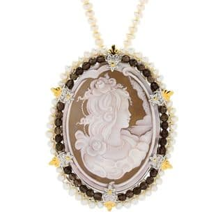 Michael Valitutti Palladium Silver Carved Shell Cameo & Freshwater Cultured Pearl Enhancer Pendant|https://ak1.ostkcdn.com/images/products/16837204/P23137583.jpg?impolicy=medium