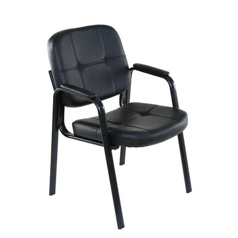 OneSpace 60-2101 Guest Reception Chair with Padded Armrests, Black