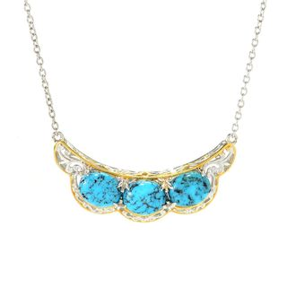 Michael Valitutti Palladium Silver Spiderweb Turquoise Necklace