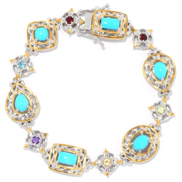 Michael Valitutti Palladium Silver Sleeping Beauty Turquoise & Multi Gemstone Line Bracelet