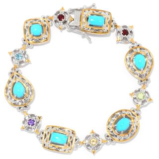 Michael Valitutti Palladium Silver Sleeping Beauty Turquoise & Multi Gemstone Line Bracelet